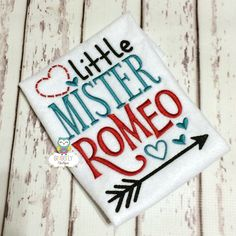 Little Mister Romeo Shirt or Bodysuit, Boy Valentine Shirt, Heart Breaker Shirt, Little Mister, Mister Romeo Valentine Shirt by GingerLyBoutique on Etsy https://www.etsy.com/listing/261918238/little-mister-romeo-shirt-or-bodysuit
