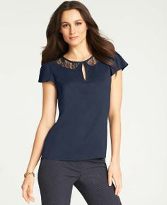Lace Collar Keyhole Top Ann Taylor - also available in teal - $69