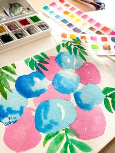 Watercolor painting on khadi paper, pastel colors, fruits, flowers and florals Candy Floss, Watercolour Painting, Pastel Colors, Florals, Kids Rugs, Fruit, Paper, Home Decor, Watercolor