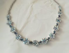 This item is unavailable Vintage Rhinestone, Vintage Signs, My Etsy Shop, Chokers, Beaded Necklace, Abs, Diamond, Check, Blue