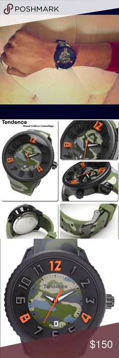 Tendence Gulliver Round Camo Mens Quartz Watch BRAND NEW- Based in Lugano Switzerland, Tendence Watches have an unique, contemporary dimension, which emerges from the complementary fusion of innovation, style and audacious design. Created using a wealth of craftsmanship expertise, avant-garde technology and exquisite materials, a captivating array of watches are formed.  Width 19mm Display: Analog Stainless Steel Movement: Quartz (Battery) Water Resistance Rating100 m (10 ATM) TENDENCE…