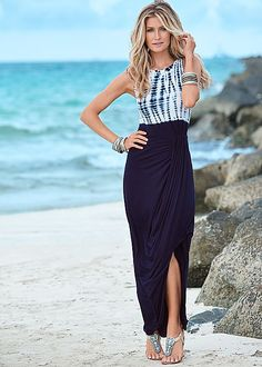 The perfect dress for the beachy babe! Venus drape front maxi dress with Venus embellished thong sandal.