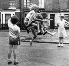 Girls Jump Rope in Zennor Road ~ Lambeth, London- The Magic of Childhood Memories - Photography Old Pictures, Old Photos, Foto Picture, Photo Book, Vintage Photographs, Black And White Photography, Kids Playing, Childhood Memories, Street Photography