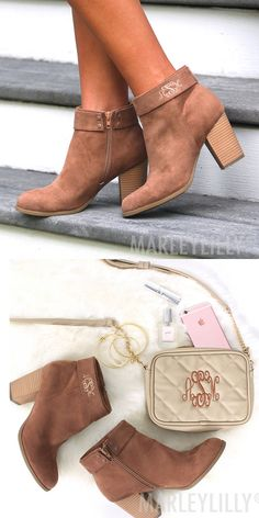 Complete your fall style with our Monogrammed Booties! Pair these cute booties with some leggings, a monogrammed sweater or scarf and some monogrammed jewelry! Cute Casual Shoes, Monogram Keychain, Sun Hats, Sydney, Autumn Fashion, Lace Up, Wedges, Pairs, Booty