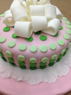 My Fondant Cake! Pink and Green and oh so cute! #wilton course 3 gumpaste and fondant