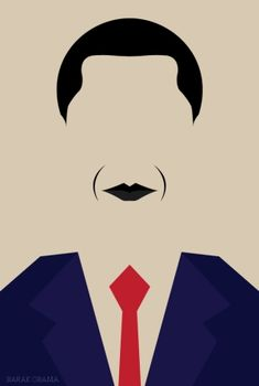 RIDDA / This amazingly simple portrait involves constrained visual elements including colour and the removal of facial features. Personally i immediately thought it was Barack Obama because of his interesting hair and lips which makes this fairly interesting. The use of a blue and red suit further highlights the character as an american icon (the president) as they are an iconic colour scheme for this campaign.