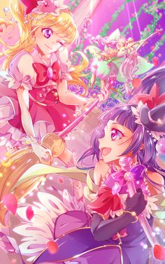 Anime: Mahou Tsukai Precure! Characters: Cure Felice,Cure Miracle,Izayoi Riko y Cure Magical