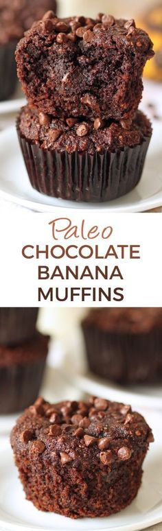 These fudgy paleo chocolate banana muffins are super rich and decadent! (honey sweetened gluten-free grain-free and dairy-free) These fudgy paleo chocolate banana muffins are super rich and decadent! (honey sweetened gluten-free grain-free and dairy-free) Paleo Baking, Gluten Free Baking, Gluten Free Desserts, Dairy Free Recipes, Real Food Recipes, Baking Recipes, Healthy Recipes, Paleo Bread, Paleo Diet