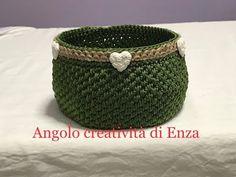 Cestino all'uncinetto con punto canestro/Crochet basket/Cesta de ganchillo - YouTube Crochet Purses, Crochet Bags, Crochet Designs, Straw Bag, Decoupage, Diy And Crafts, Drop Earrings, Sewing, Knitting