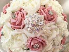These eye catching, sparkling bouquets are made up of dusky pink & ivory foam roses. These truly beautiful bouquets will not go unnoticed on your wedding da