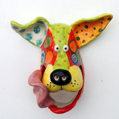 READY TO SHIP Large Ceramic Dog mask wall hanging by DottieDracos, $50.00.  See me on Etsy to buy Ready to Ship masks.