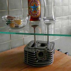 Upcycled end table / cake stand made from motorbike cylinderhead