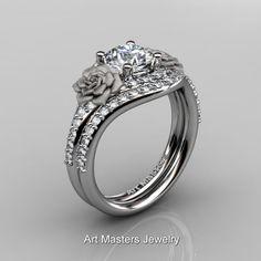 Rosa Viña 10K oro blanco 10 Ct diamante zafiro blanco Floral
