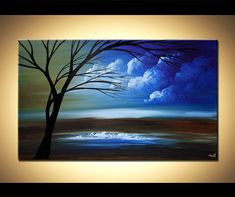 "Landscape Tree Painting Original Abstract Contemporary Modern Fine Art by Osnat 40""x24"""