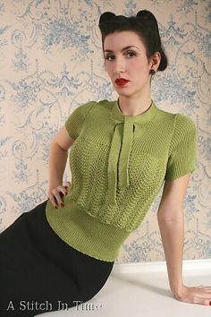 Love this vintage knitted top.  Perfect for work. (Jersey with a Soft Bow pattern by Susan Crawford, A Stitch in Time)