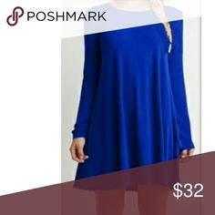 New Arrival!! Gorgeous royal blue ruffled dress. Long sleeve perfect casual loose fitting dress. Semi- ruffled hem.  Pls note the length of this dress depends on your height.  Nip  Bundles welcome great discounts  No rude comments or you will be blocked Reasonable offers only Retail Chic  Dresses Long Sleeve