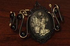 Steampunk Goth Jewelry - Bracelet - Fairy Cameo by CatherinetteRings.deviantart.com