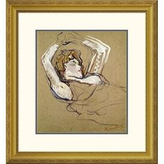 Global Gallery 'Woman Sleeping on the Back' by Henri Toulouse-Lautrec Framed Painting Print Size: