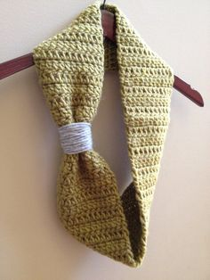 Sage Green & Grey Crochet Infinity Scarf
