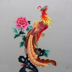 Phoenix on a Peony #Beautiful #Handmade #Silk #Embroidery #Art 34083 http://www.queensilkart.com/100-handmade-embroidery-framed-wildlife-animal-phoenix-on-a-peony-34083 In Chinese culture, The Phoenix is a celestial symbol for feminine power. The Phoenix is The Queen of the Birds and represents the Empress, revered today for its beauty and simple mystery.