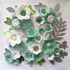 Hand made mint/white felt 3d flowers/roses & glitter leaves. Felt flower crown, flower headband, flower garland, baby headband, felt posies by cutzbothways on Etsy