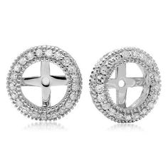 0.55 Carat (ctw) 14K White Gold Round Cut Diamond Millgrain Removable Jackets For Stud Earrings 1/2 CT ** Find out more about the great product at the image link.