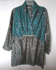 100% silk asian themed tunic top blouse Guru  one size #Guru #kimono