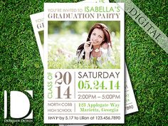Graduation party invitation by DeReimer DeSign. Digital file only $12.95! Print as many as you need.