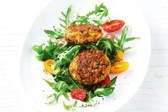 Sweet potato and lentil patties with tzatziki