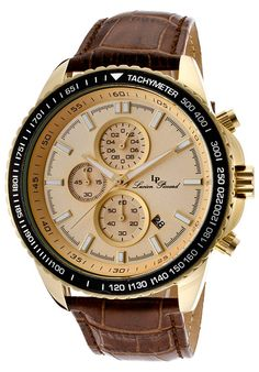 Lucien Piccard 12552-YG-10-BR Watches,Cartagena Chrono Brown Genuine Leather Gold-Tone Dial, Fashion Lucien Piccard Quartz Watches