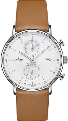 The Form C Chronoscope Quartz Matt Silver Watch with lines in a Tan leather strap from Junghans showcase luxurious designs with their model. Swiss Watches For Men, Luxury Watches For Men, Casual Watches, Cool Watches, Men's Watches, Elegant Watches, Wrist Watches, Breitling, Bracelet Cuir