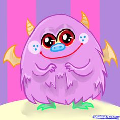 cute monsters   How to Draw a Cute Monster, Step by Step, Creatures, Monsters, FREE ...
