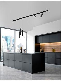 Nova Luce | MAGNETIC PROFILE - JAZZ - Sandy Black Aluminium Modern Kitchen Interiors, Luxury Kitchen Design, Kitchen Room Design, Contemporary Kitchen Design, Home Room Design, Kitchen Cabinet Design, Luxury Kitchens, Kitchen Layout, Home Decor Kitchen