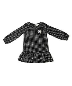 Loving this Black Dot Drop-Waist Dress - Toddler & Girls on #zulily! #zulilyfinds