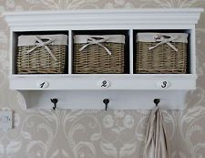 Overhead Coat Rack With Storage Shabby Chic Vintage Wall Shelf Baskets