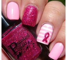 Cute pink breast cancer awareness ribbon mani
