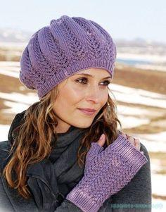 Вязание шапки спицами Вязаные митенки спицами Модели из журнала Дропс                   &...