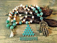 Hamsa hand necklace, long boho hippie yoga necklace by HonuHippie on Etsy https://www.etsy.com/listing/287313631/hamsa-hand-necklace-long-boho-hippie
