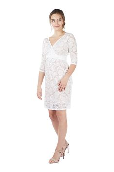 3493f822a754c Chantel 3/4 Sleeve Lace Nursing Dress (White) Please use coupon code  NewArrivals15