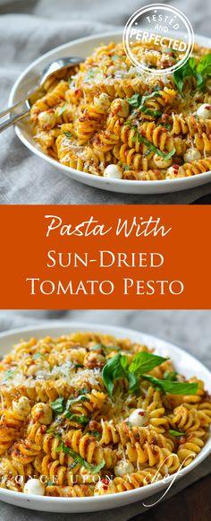 Pasta with Sun-Dried Tomato Pesto & Mozzarella Pearls