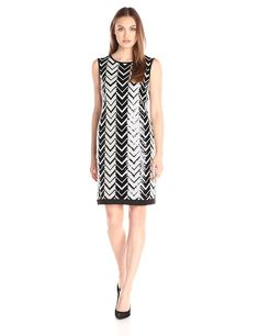 dbb5cf184e8c Amazon.com: Sandra Darren Women's 1 Piece Sleeveless Chevron Sequin Dress:  Clothing