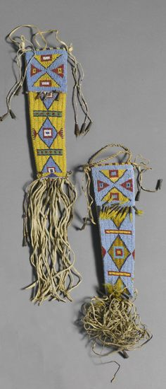 Sioux woman's beaded knife sheaths.