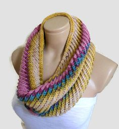 Womens Mens infinity scarf Very warm and soft hand knit infinity scarf in colorful. Its a piece to wear in the winter and autumn. A special piece Crochet Scarves, Knit Crochet, Mens Infinity Scarf, Knit Cowl, Knitted Cowls, Hand Knitting, Knitting Patterns, Handmade Gifts For Her, Yarn Inspiration