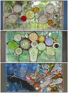 Scrap and broken glass repurposed into incredible stained glass art. Would be so fun to make for the garden!