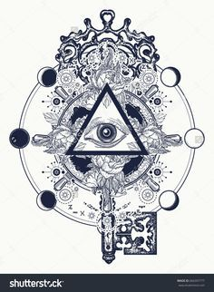 Masonic eye and key tattoo symbols. Freemason and spiritual symbols. Alchemy, medieval religion, occultism, spirituality and esoteric tattoo. Magic eye, roses and steering wheel t-shirt design