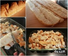 Cut up french bread with scissors for Caramelized French Toast Casserole
