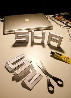 Crafty Bitches - Blog DIY, Couture, Déco, Vintage. Tuto couture, Do it yourself, décoration, rétro.: Une police à télécharger et imprimer pour faire des lettres 3D