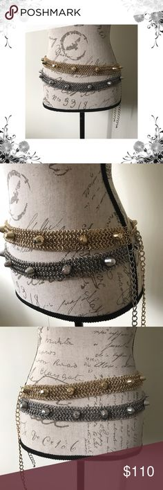 """Stone Cold Fox 'Billie' Belt Gold or Silver Stone Cold Fox x Love AJ The Billie Belt in Plated Antique Gold or Plated Antique Silver. Oh Yeaaah. Metal chain link belt with bullett charm details soldered on top. One Size Fits All. Has extender chain with adjustable hook and loop closure. Belt is 31"""" long with 10"""" of extender chain. Chainmaille belt is 1.25"""" tall. Intended to wear on your hips. Bundle for discounts! Thank you for shopping my closet! Stone Cold Fox Accessories Belts"""