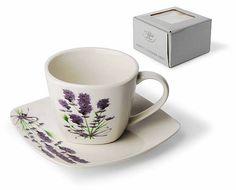 Šálek s podšálkem s levandulí Tea Cups, Mugs, Tableware, Dinnerware, Tumblers, Tablewares, Mug, Dishes, Place Settings