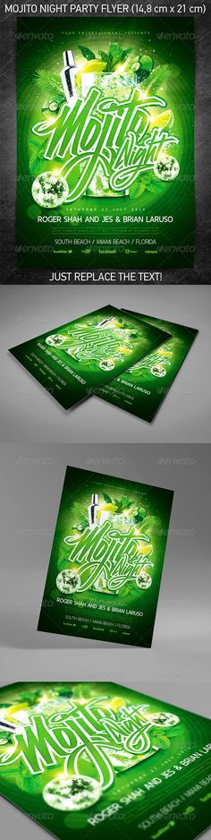 """""""Mojito Night Party Flyer"""" for a mainstream music event or any other night club event. You can download and learn more about this PSD template at the following link – http://graphicriver.net/item/mojito-night-party-flyer/5155126?ref=4ustudio More flyers and posters here: http://graphicriver.net/user/4ustudio?ref=4ustudio"""